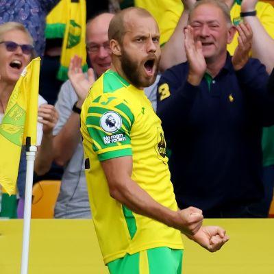 Teemu Pukki firar mål i Norwich.