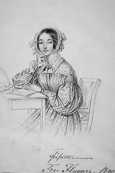 Författaren Emilie Flygare-Carlén som nyss anländ till Stockholm, 32 år. Tecknad av Maria Röhl. Teckningen finns på Kungliga biblioteket i Stockholm.