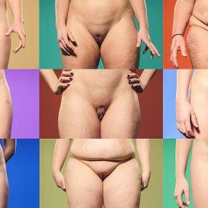 Jalkojen välissä -sarjaan osallistuneiden naisten sukupuolielimet.