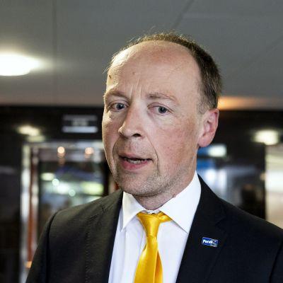 Perussuomalaisten puheenjohtaja Jussi Halla-aho puolueen eduskuntaryhmän kesäkokouksessa Joensuussa torstaina 29. elokuuta.