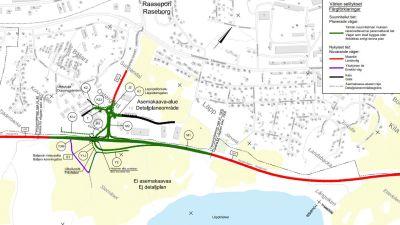 En karta som visar hur man ska bygga en ny korsning vid riksväg 25 i Läpp i Karis.