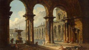 Bild på målning av ett antikt badhus.