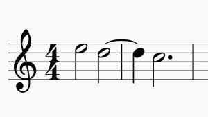 Musiikkinotaation kaari- ja pistemerkintä. Vain Orkesterikoneessa käytettäväksi.