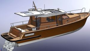 Konstruktionsbild på motorbåt.