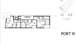 Grundplanen för en stor bostad i det första huset som byggs i Port 19.
