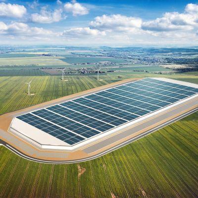 Havainnekuva Vaasaan suunnitellusta Teslan tehtaasta.
