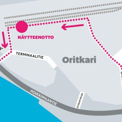 Oulun kaupungin drive-in-koronatestien paikka on Oritkarin yritysalueella, jonka parkkipaikalle on perustettu arkisin auki oleva testauspaikka.