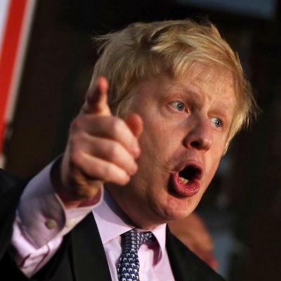 Londons borgmästare Boris Johnson gör Brexit-kampanj i Manchester den 15 april 2016.