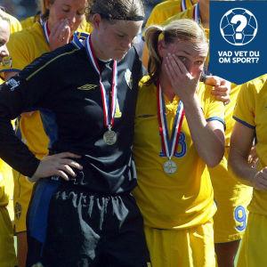 Svenska spelare deppar efter finalförlusten mot Tyskland.
