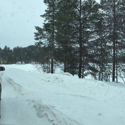 Olycksplatsen norr om Ivalo i Lappland.