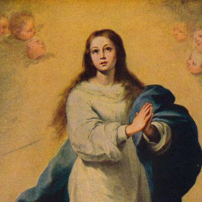 """Bartolome Esteban Murillon maalaus """"Immaculate Conception"""". Yksi lukuisista versioista."""