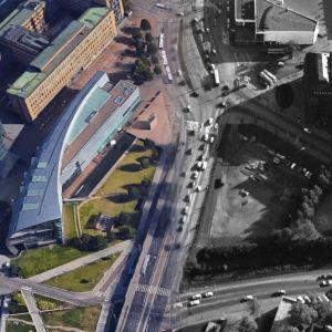 Flygbild på Mannerheimvägen strax vid riksdagshuset, bild från efter 2015 blandat med en bild från 1970