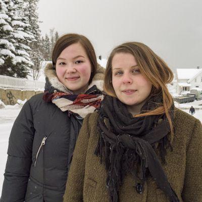 Nora Ollila ja Katriina Pedersen ovat opiskelleet kveeniä Tromssan yliopistossa.