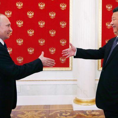 Xi Jinping ja Vladimir Putin kättelevät Moskovassa.
