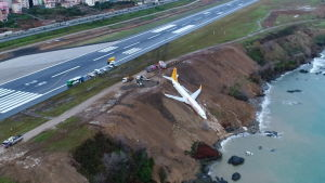 Pegasus Airlines plan gled av landningsbanan.
