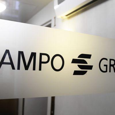 Sampo Groupin tunnus yhtiön pääkonttorin ovessa Helsingissä.