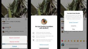 Skärmdump som visar en hatisk kommentar och Instagrams nya funktion som frågar ifall du vill begränsa en användare.
