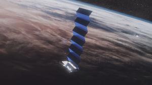 En illustration på Starlink-satelliter i omloppsbana runt jorden.
