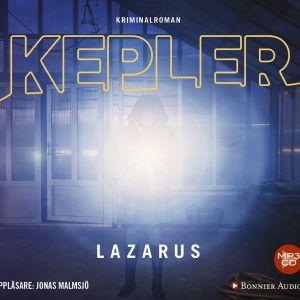 Omslaget för Lars Kepler-boken Lazarus som ljudbok.