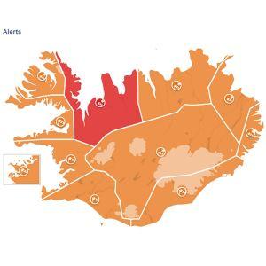 En karta på Island.