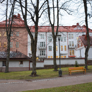 Vy från Runebergsparken mot finska församlingshemmet. Man ser flera stenhus i brunt, vitt och ljusblått. Taken är röda eller bruna.