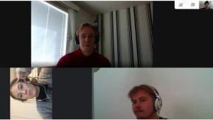 En datorskärm där man ser tre personer i ett videosamtal.