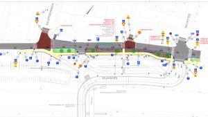 Planritning på gatuavsnitt vid järnvägsbro.