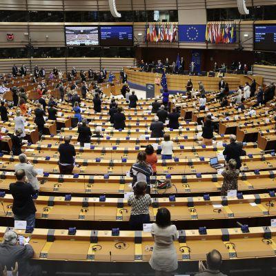 Kuvassa Euroopan parlamentti Brysselissä.