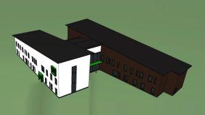 Ritning över huset som ska byggas där Ekenäs hvc finns nu.