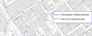 En karta som visar hur trafiken på Folkskolegatan blir enkelriktad från Fredriksgatansriktning och hur man från Annegatan i stället kan köra via Urho Kekkonens gata.