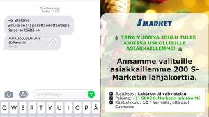 SMS som påstås innehålla presentkort till S-market.