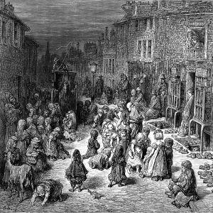 Gravyr av Gustave Doré som visar en gatuscen från 1800-talets London med fattigdom och gatubarn