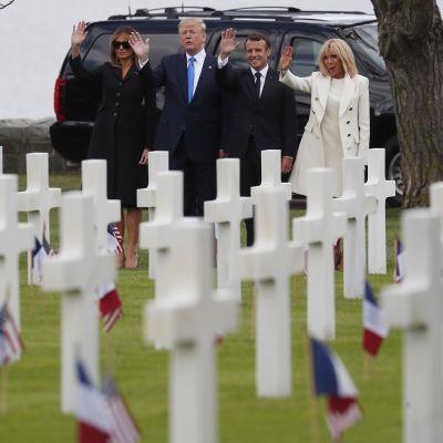Normandian maihinnousua olivat muistelemassa Ranskan ja Yhdysvaltojen johtajat puolisoineen.