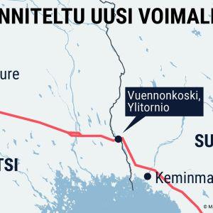 Uusi sähkönsiirtolinja kulkisi Pohjois-Pohjanmaalta Keminmaan, Tornion ja Ylitornion kautta Pohjois-Ruotsiin.