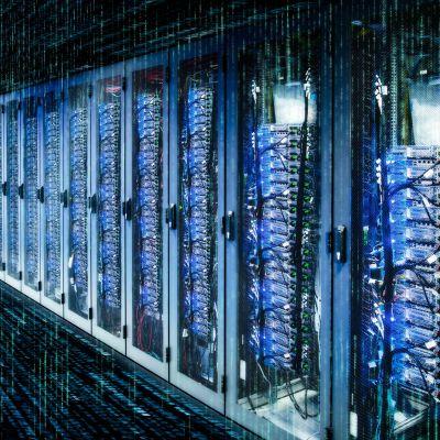 Palvelinkeskus data center.