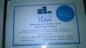 Turun Talo Teamin ovenavausmaksut.