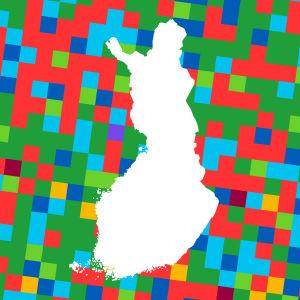 En karta på Finland omgiven av kvadrater i olika färger.