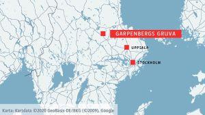 En karta över Sverige där Garpenbergsgruva är utplacerat, samt Uppsala och Stockholm.