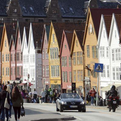 Katunäkymä Bergenissä.