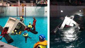 en hytt i en simbassäng som snurrat runt och personer  som övar på att ta sig ut ur den