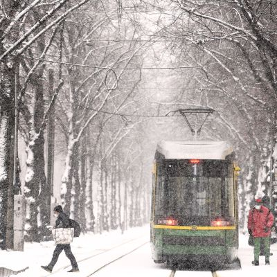 Raitiovaunu lumisateessa Helsingissä.
