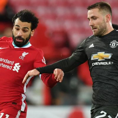 Mohamed Salah mot Luke Shaw 2021.
