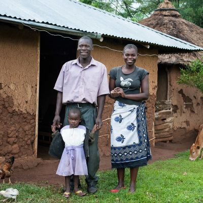 Gabriel Awoche perheineen Kogan kylässä.