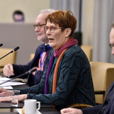 vihreiden kansanedustaja Satu Hassi puhuu suuren valiokunnan ja suomalaisten europarlamentaarikkojen tapaamisessa eduskunnassa Helsingissä 22. marraskuuta