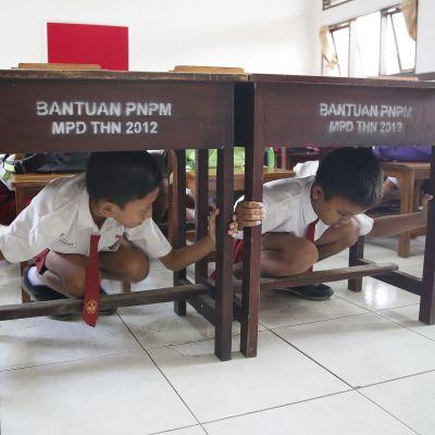 Kaksi poikaa pulpetin alla.