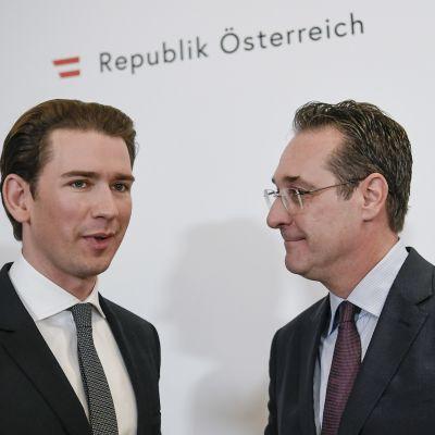 Liittokansleri Sebastian Kurz ja varaliittokansleri Heinz-Christian Strache.