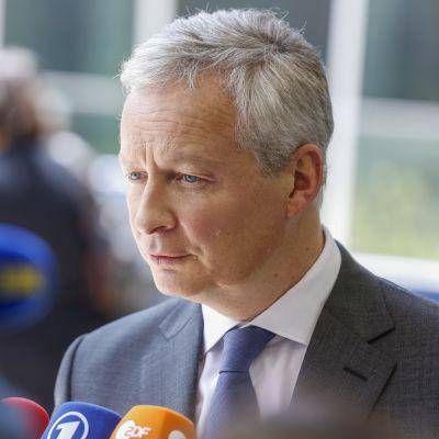 Ranskan valtiovarainministeri Bruno Le Maire antoi lausuntoja saapuessaan kokoukseen torstaina.