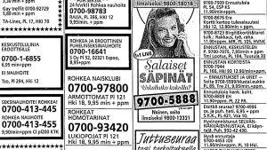 Puhelinseksipalveluiden lehti-ilmoituksia Helsingin Sanomissa maalikuussa 1995.