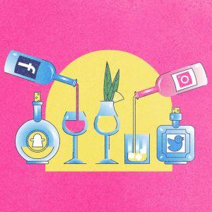 Piirroskuva, alkoholijuomia ja -pulloja, joissa somelogoetiketit