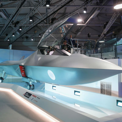 Ett jaktplan av modellen Tempest uppvisas för första gången på Farnborough Air Show.